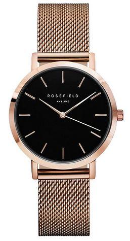 montre Rosefield pour femme modele The Tribeca en acier rose gold avec un cadran noir minimaliste