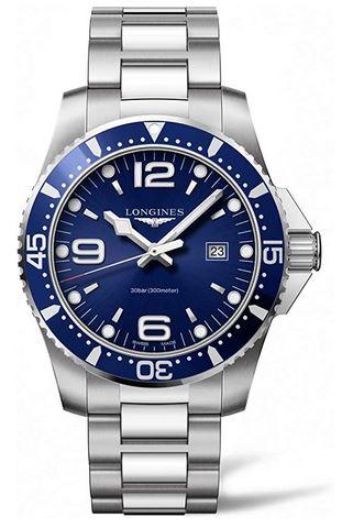 montre Suisse pour homme de la marque Longines modele HydroConquest au cadran bleu et au bracelet en acier inoxydable chrome