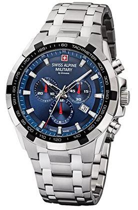 montre Swiss Alpine Military chronographe suisse pour homme avec un cadran bleu et un bracelet en acier inoxydable