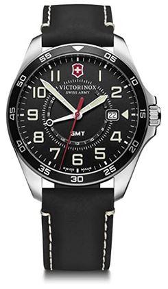 montre Victorinox Fieldforce GMT pour homme avec un bracelet de cuir noir et cadran noir
