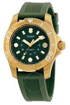 montre Victorinox dive Master 500 avec un cadran en acier couleur or et un bracelet vert en caoutchouc pour femme