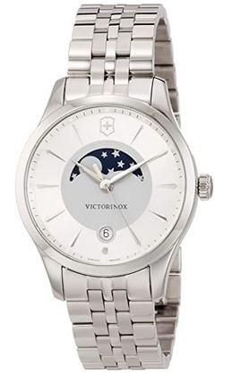 montre Victorinox pour femme avec phase de lune modele en acier inoxydable avec un cadran blanc et gris