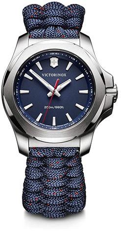 montre Victorinox pour femme avec un bracelet en corde nylon bleu et un cadran analogique bleu