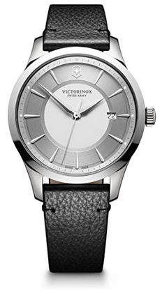 montre Victorinox pour homme modele Alliance avec un bracelet noir en cuir et un cadran gris en acier