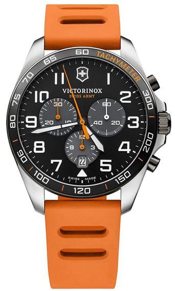 montre Victorinox pour homme sport chronograph Fieldscore avec un bracelet en silicone orange
