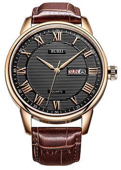 montre analogique a quartz de la marque Burei avec un cadran texture compose de chiffre romain un bracelet en cuir marron rouge et un boitier rose gold