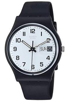montre analogique simple de la marque suisse Swatch destinee aux hommes faite principalement en plastique