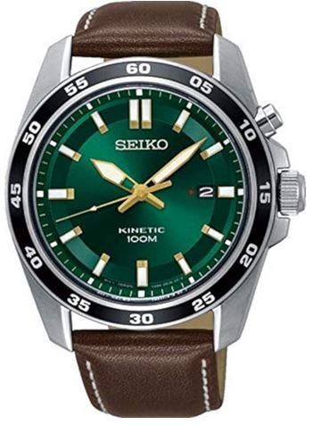 montre au look retro pour homme de la marque Seiko avec un cadran vert un boitier en acier et un bracelet en cuir marron fonce