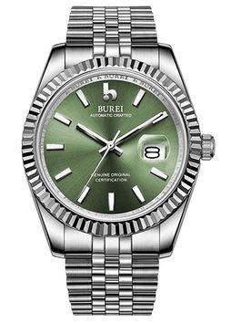montre automatique Burei destinee aux hommes avec bracelet en acier et cadran vert clair saphir