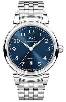 montre automatique IWC Da Vinci IW356605 pour homme avec un cadran analogique bleu nuit et un bracelet couleur argent en acier inoxydable