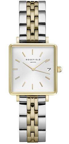 montre carree de la marque Rosefield pour femme avec un cadran blanc et un bracelet en acier inoxydable dore