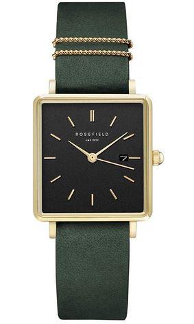 montre carree pour femme de la marque Rosefield avec un bracelet en cuir vert foret un boitier dore et un cadran noir