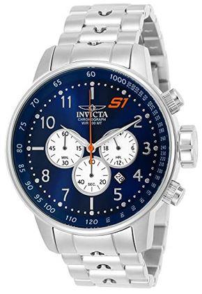 montre chronographe Invicta destinee aux hommes avec un large cadran bleu de 48mm avec les compteurs blancs