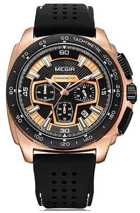 montre chronographe au cadran noir et rose gold assez large avec un bracelet en silicone perfore de la marque Megir pour homme