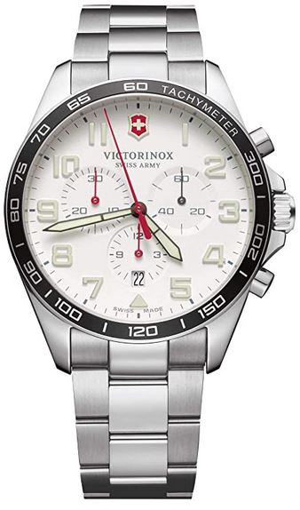 montre chronographe pour homme de la marque Victorinox avec un cadran blanc et un bracelet en acier a 3 mailles
