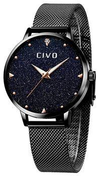montre de la marque Civo destinee aux femmes modele avec un bracelet noir en acier et un cadran compose de strass effet celeste