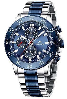 montre de la marque Megalith destinee aux hommes modele chronographe bleu et gris en acier inoxydable