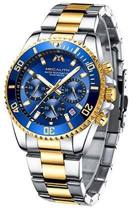 montre de la marque Megalith effet grand luxe avec un bracelet dore et argente ainsi quun cadran chronographe bleu modele analogique pour homme