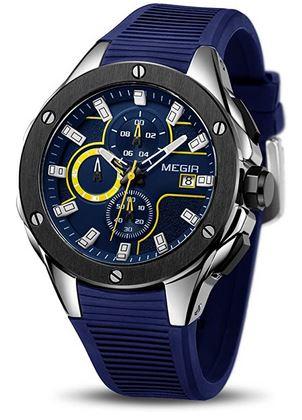 montre de la marque Megir pour homme avec large boitier a clous noir ainsi que le cadran et le bracelet bleu violet