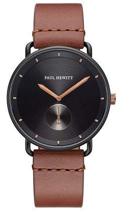 montre de marque Paul Hewitt pour homme avec bracelet en cuir marron fonce lisse et cadran noir avec details en or rose modele Breakwater Black Sunray