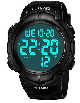 montre digitale noire pour homme de la marque Civo