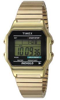montre digitale vintage pour homme en acier dore avec un cadran noir de la marque Timex