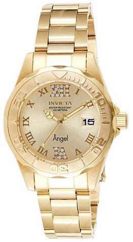 montre doree de la marque Invicta destinee aux femmes avec un cadran fait de chiffres romains de 38mm de diametre