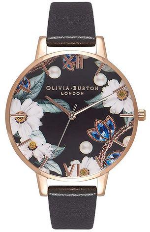 montre feminine Olivia Burton OB16BF04 avec un bracelet noir en cuir le contour du boitier dore et le cadran couleur noir avec des fleurs colorees
