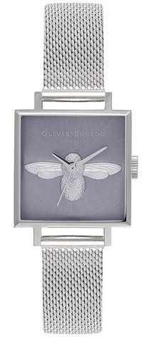 montre feminine carree Olivia Burton argentee et mauve avec une abeille couleur argent au milieu du cadran