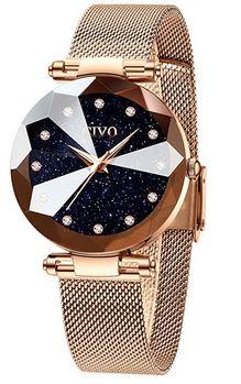 montre feminine de la marque Civo en or rose avec un cadran a paillette texture