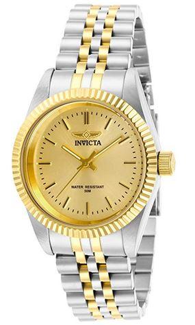 montre feminine de la marque Invicta avec un bracelet en maille moyenne dore et argente ainsi quun cadran couleur or