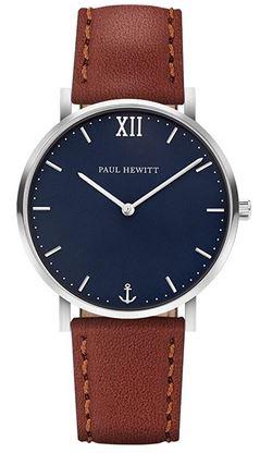 montre homme sailor Ligne minimaliste en acier avec un cadran bleu et un bracelet en cuir marron de la marque Paul Hewitt