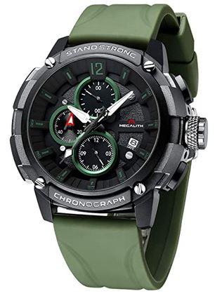 montre masculine Megalith de style militaire tactique avec un large cadran chronographe vert et noir ainsi quun bracelet en silicone vert