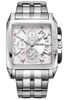 montre masculine Megir au design carre avec un cadran blanc chronographe et le reste en acier argente