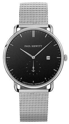 montre masculine Paul Hewitt en acier inoxydable avec un cadran minimaliste noir