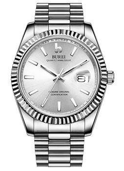 montre masculine de la marque Burei de couleur entierement gris argent metal avec un cadran simple et un bracelet a 3 mailles