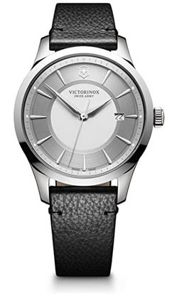 montre masculine de la marque suisse Victorinox modele Alliance elegant avec bracelet fin en cuir noir et un cadran argente simple