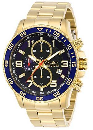 montre masculine doree et bleu avec un cadran de 45mm chronographe noir de la marque Invicta modele 14878 Specialty