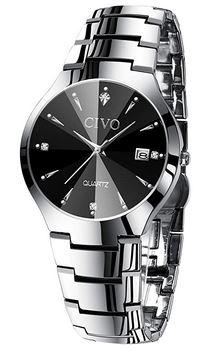 montre masculine en acier inoxydable couleur argent avec un cadran noir de la marque Civo
