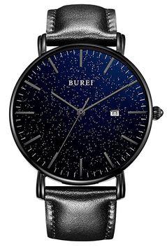 montre minimaliste pour homme avec un cadran bleu nuit a paillette et un bracelet en cuir noir de la marque Burei