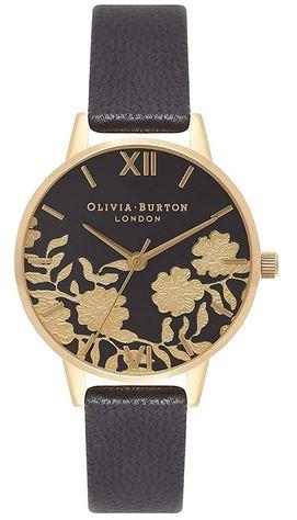 montre noir et doree avec un bracelet en cuir noir assez fin et un cadran avec des fleurs dorees modele de la marque Olivia Burton pour femme