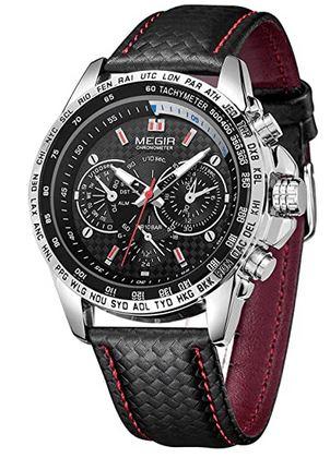 montre pilote masculine de la marque Megir avec bracelet en cuir noir tresse modele chronographe analogique qui fonctionne a quartz