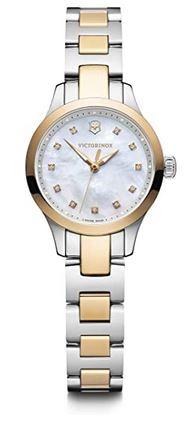 montre pour femme Victorinox Alliance XS en acier inoxydable argente et or avec un cadran blanc nacre