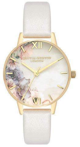 montre pour femme dOlivia Burton avec cadran de fleurs pales details dores et bracelet fin en cuir gris