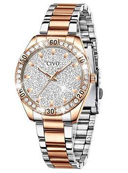 montre pour femme de la marque Civo avec des pierres brillantes incrustrees sur le cadran et le boitier