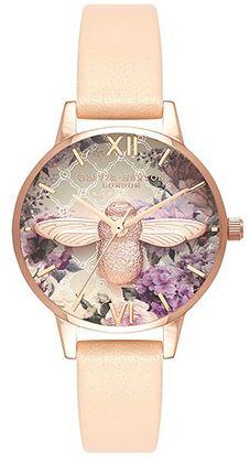 montre pour femme de la marque Olivia Burton avec un bracelet en cuir rose et un cadran fleuri avec un insecte en or rose au milieu