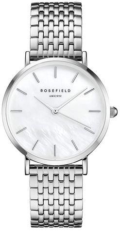 montre pour femme de marque Rosefield modele the Upper East Side au cadran blanc nacre et bracelet et en acier inoxydable argente