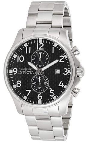 montre pour homme Invicta specialty 0379 avec cadran chronographe de couleur noir et bracelet en acier