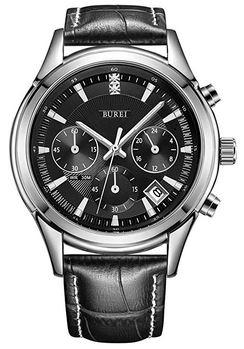 montre pour homme de la marque Burei entierement noire modele chronographe avec bracelet en cuir noir