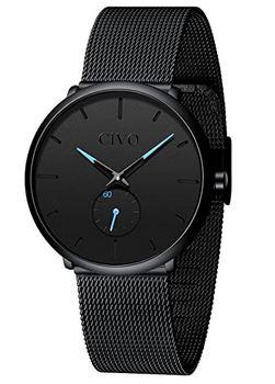 montre pour homme de la marque Civo modele de couleur noir avec quelques details bleu ciel